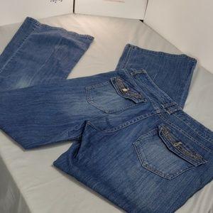White House black market flare jeans w/ gem pocket